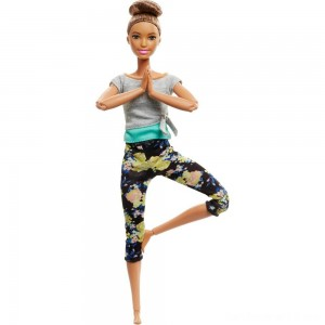 Black Friday - Barbie Made To Move Yoga Doll - Floral Blue
