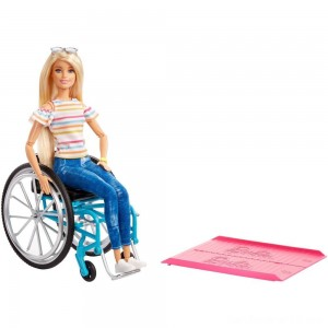Black Friday - Barbie Fashionistas Doll #132 Blonde with Rolling Wheelchair and Ramp
