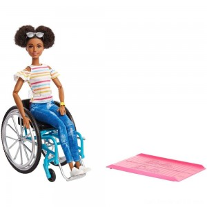 Barbie Fashionistas Doll #133 Brunette with Rolling Wheelchair and Ramp
