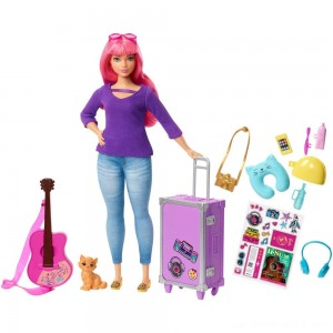 Black Friday - Barbie Daisy Travel Doll & Kitten Playset