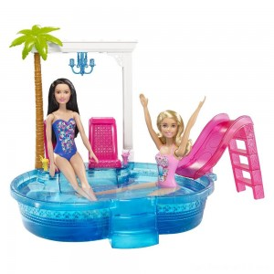 Black Friday - Barbie Glam Pool with Water Slide & Pool Accessories
