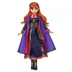 Disney Frozen 2 Singing Anna Fashion Doll with Music Wearing a Purple Dress