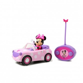 """Black Friday - Jada Toys Disney Junior RC Minnie Bowtique Roadster Remote Control Vehicle 7"""" Pink with White Polka Dots"""