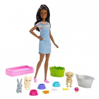 Black Friday - Barbie Play 'n' Wash Pets Nikki Doll and Playset