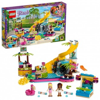 Black Friday - LEGO Friends Andrea's Pool Party 41374 Toy Pool Building Set with Mini Dolls for Pretend Play