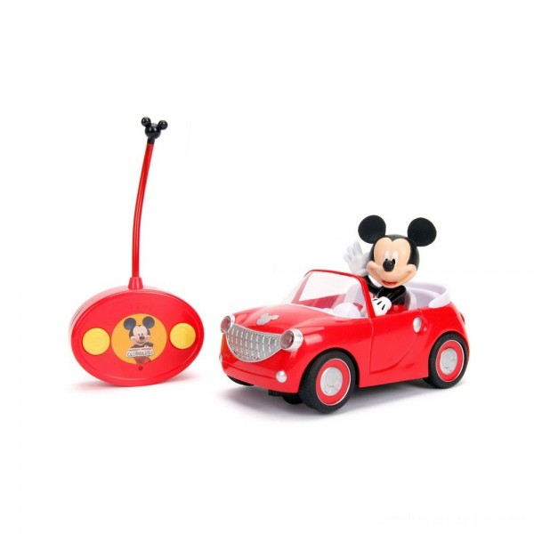 "Black Friday - Jada Toys Disney Junior RC Mickey Mouse Club House Roadster Remote Control Vehicle 7"" Glossy Red"