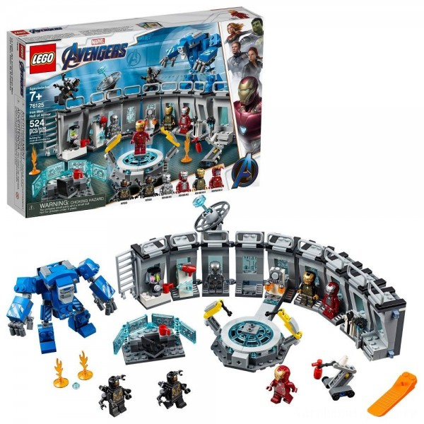 Black Friday - LEGO Marvel Avengers Iron Man Hall of Armor Superhero Mech Model with Tony Stark Action Figure 76125