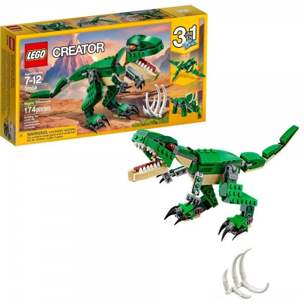 Black Friday - LEGO Creator Mighty Dinosaurs 31058 Build It Yourself Dinosaur Set, Pterodactyl, Triceratops, T Rex Toy