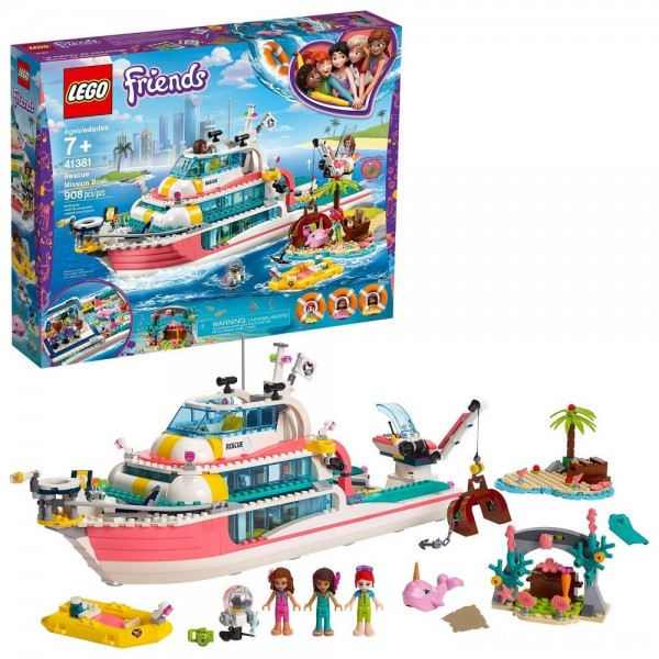 Black Friday - LEGO Friends Rescue Mission Boat 41381 Building Kit Sea Creatures for Creative Play 908pc