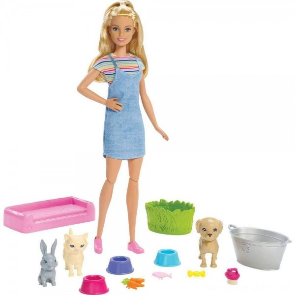 Black Friday - Barbie Play 'n' Wash Pets Doll and Playset