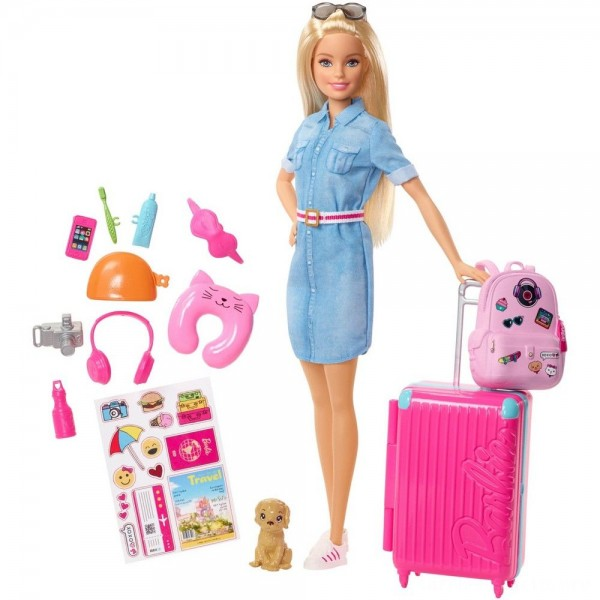 Black Friday - Barbie Travel Doll & Puppy Playset