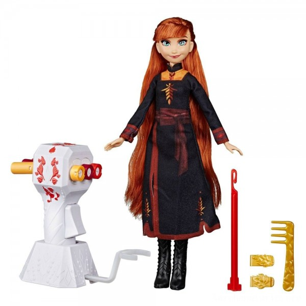 Disney Frozen 2 Sister Styles Anna Fashion Doll With Extra-Long Red Hair, Braiding Tool and Hair Clips