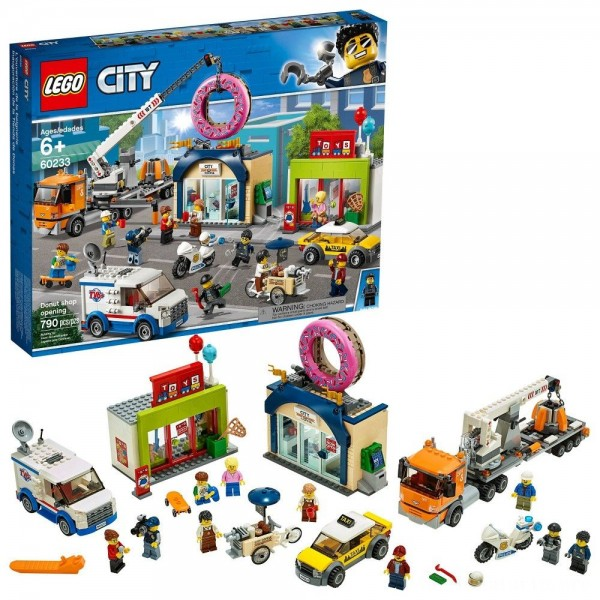 LEGO City Donut Shop Opening 60233 Store Opening Build and Play with Toy Vehicles and City Minifigures