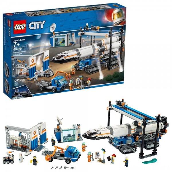 LEGO City Space Rocket Assembly & Transport 60229 Model Rocket Building Set with Toy Crane 1055pc