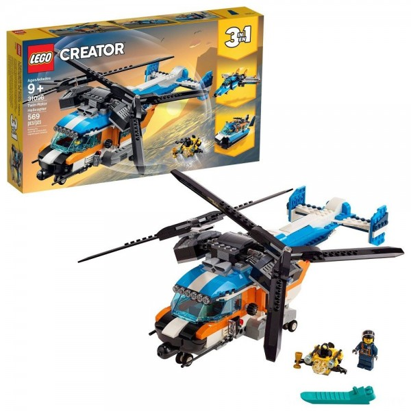 LEGO Creator Twin-Rotor Helicopter 31096 Toy Helicopter Building Set with Submarine 569pc
