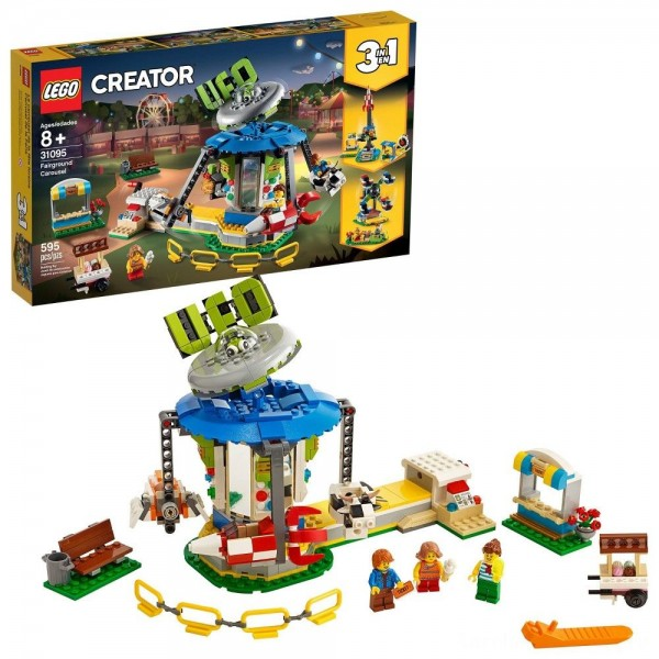 LEGO Creator Fairground Carousel 31095 Space-Themed Building Kit with Ice Cream Cart 595pc